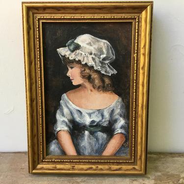 "Vintage Portrait Colonial Woman, Original Mini Painting Signed By Artist, Woman Portrait, 5""x7"" Framed Portrait by luckduck"