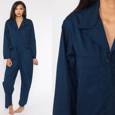 Navy Boiler Suit 80s Coveralls Pants Jumpsuit Boilersuit Workwear Coverall Blue One Piece Work Wear Vintage Pantsuit Mechanic Small Medium by ShopExile
