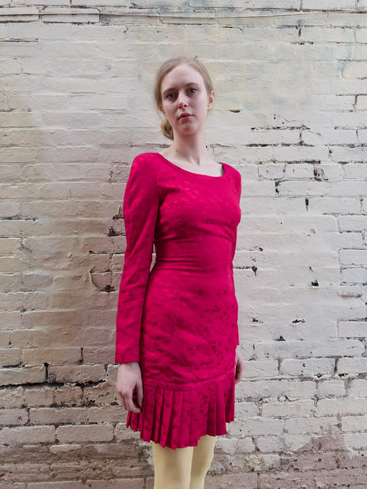 Vintage 1980s CH by Carolina HERRERA Drop Waist Silk Sample Mini Dress XS by SHOPTREASURY
