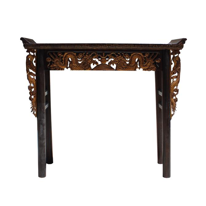 Chinese Vintage Golden Dragons Carving Altar Console Table cs3851S