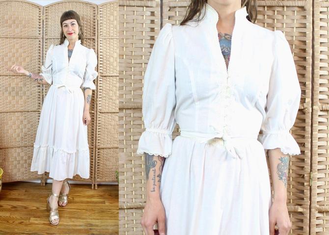 Vintage 70's White Gunne Sax Cotton Dress / 1970's Bridal Dress / Prairie Dress / Puff Sleeve / Women's Size Small Medium by RubyThreadsVintage