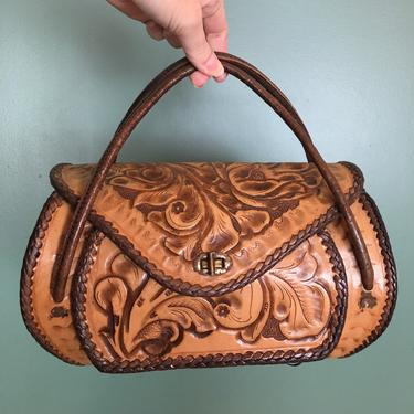 1950s handbag, tooled leather, vintage purse, southwestern style, rockabilly purse, mid century, brown floral, 50s bag, mrs maisel style by BlackLabelVintageWA