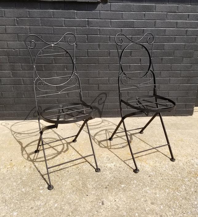 Pr. Of Black Metal Folding Bistro Chairs