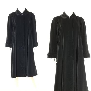"1990s Long Black Velvet Swing Coat, Large 25"" Bust ~ Satin Lined Evening Jacket, Lush Gothic Opera Coat by SoughtClothier"