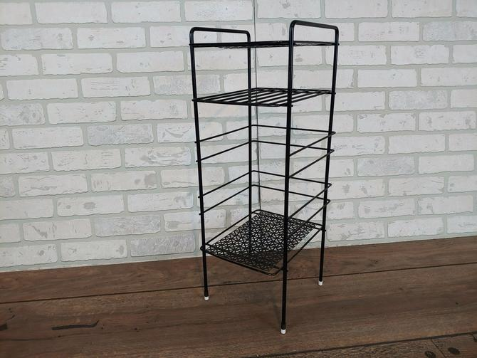 Mid Century Black Wire Record/Magazine/Telephone Side Table by RedsRustyRelics