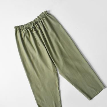 vintage olive silk & cotton lounge pants with drawstring waist, size XL by ImprovGoods