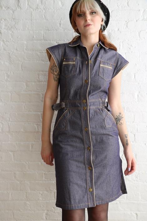 Sonia Rykiel Vintage Denim Midi Dress, Size S