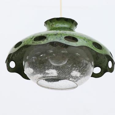 Vintage Green Enameled Metal Pendant