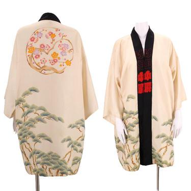30s silk kimono /Bonsai print silk Japanese kimono / vintage cream cherry blossom floral print Deco duster robe antique one size 1930s 1940s by ritualvintage