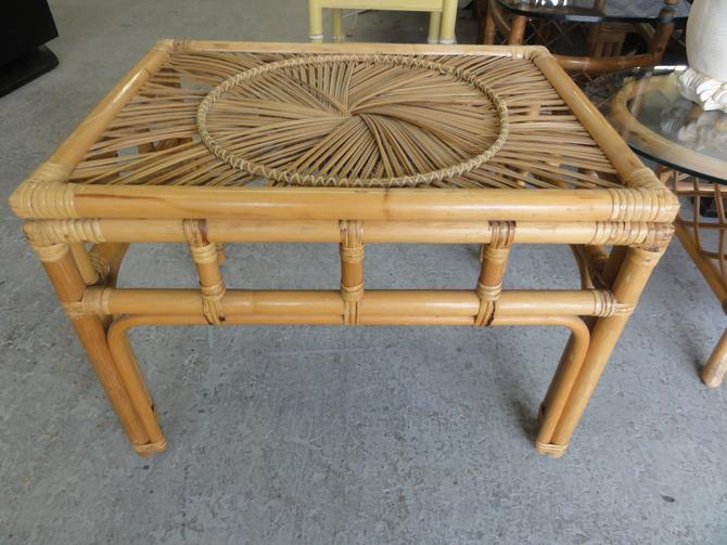 Rattan Medallion Side Table