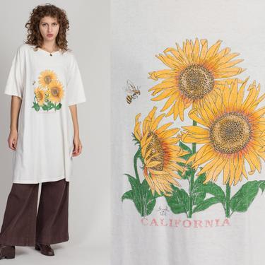 90s California Sunflower & Honey Bee T Shirt Dress - One Size   Vintage Oversized Off-White Graphic Midi Grunge Dress by FlyingAppleVintage