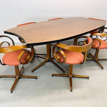 """mid century modern George Mulhauser for Plycraft complete """"Saltana"""" """"Scroll"""" dining set by AtomicJunkiesGallery"""