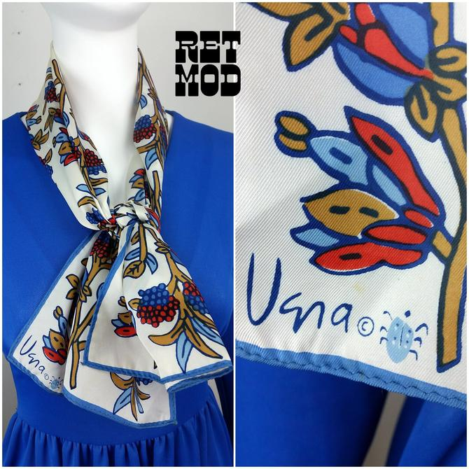 Pretty Vintage 70s Blue, Red, Beige and White Botanical Floral Long VERA Scarf by RETMOD