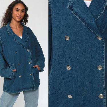 90s Denim Jacket 80s Peacoat Jean Jacket Boho Blue Double Breasted Jacket Forenza Vintage 1980s Button Up Oversized Jacket Large by ShopExile