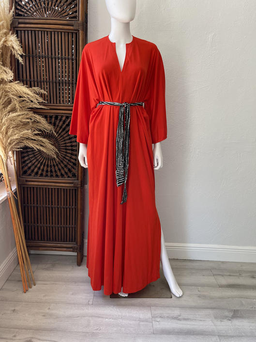 Vtg 70s 80s Halston IV red jersey L/XL caftan by AnimalVintageMiami