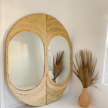 New! Studio 54 Split Reed Rattan Full Length wall Mirror by TheWickedBoheme