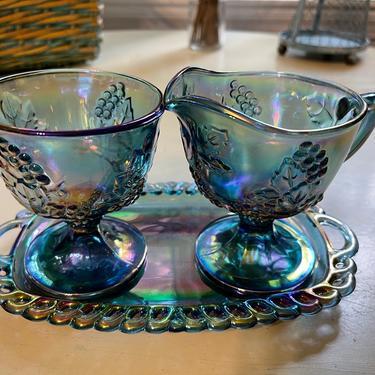 Vintage Indiana Glass Company Blue Carnival Harvest Grape Sugar Creamer Tray Set