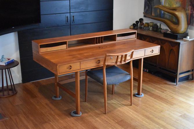 "Newly-restored Jens Quistgaard for Peter Lovig teak""flip-top"" partners desk by MidCenturyClever"