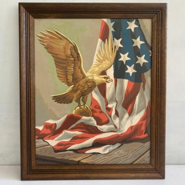 Vintage 70's Paint By Number Of Eagle And Flag, The American Spirit By Craft Master, Patriotic PBN, 1973 by luckduck