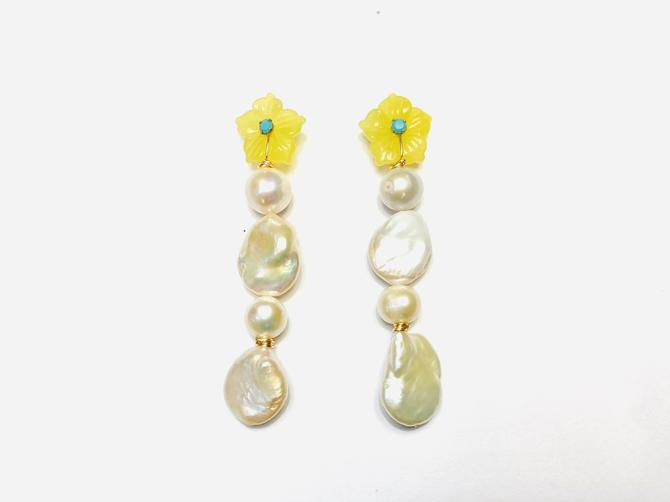 The Pink Reef rainbow gem pearls in yellow quartz