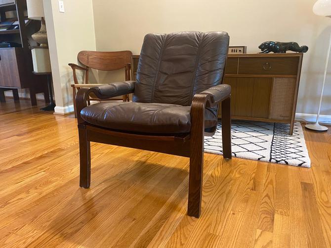 Vintage Ekornes Norwegian Leather Rosewood Armchair by MSGEngineering