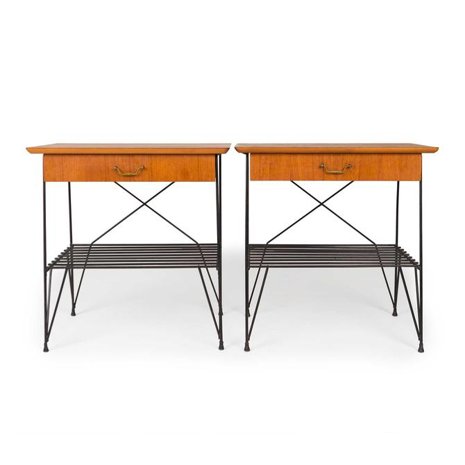 Vintage Danish Mid Century Teak and Wire Nightstands — Pair by MCMSanFrancisco