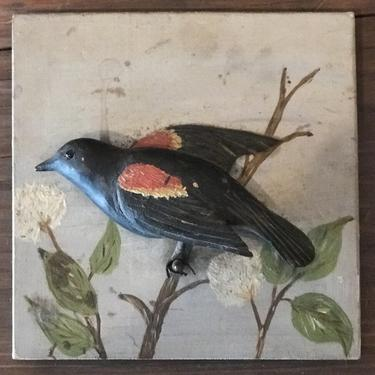 Carved Red-Winged Blackbird