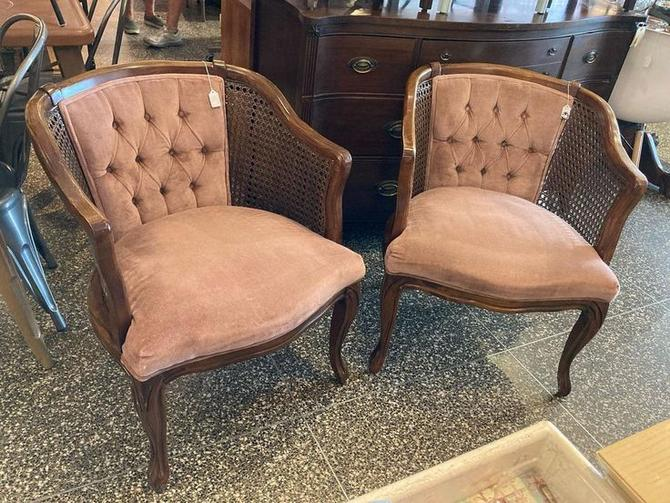 """Two dusty mauve, velvet with cane sides chairs. 24"""" x 26"""" x 30"""" seat height 17"""""""