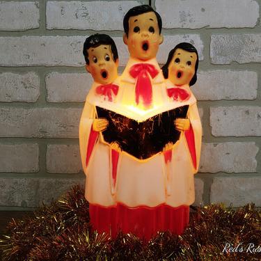 Vintage Empire Plastic Blow Mold Christmas Carolers Choir Singers by RedsRustyRelics