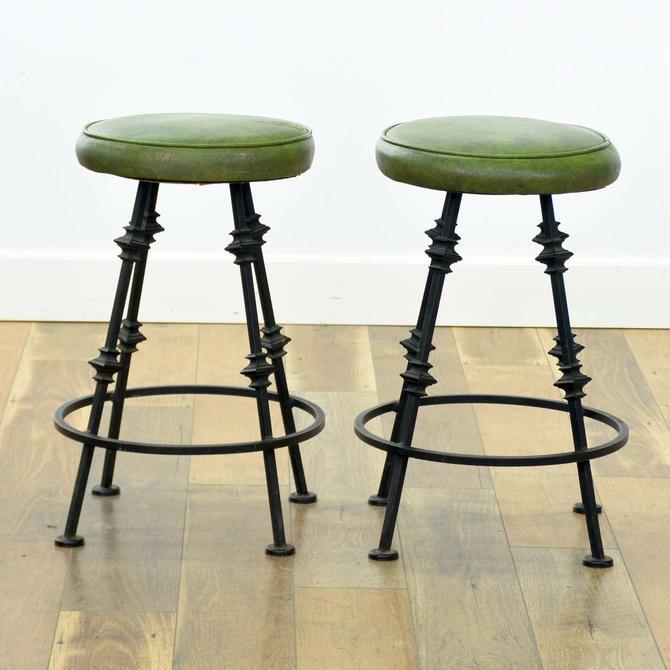 Pair Of Mid Century Spanish Revival Green Stools