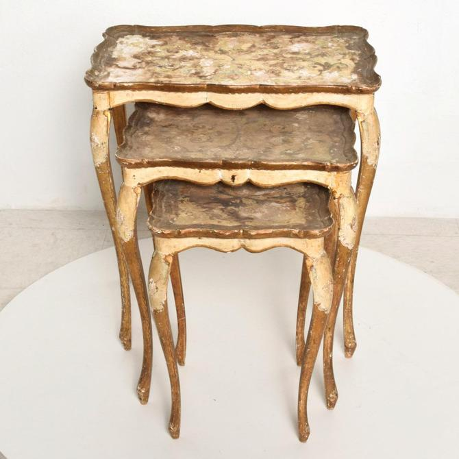 Neoclassical Gilt Florentine, Italian Nesting Tables by AMBIANIC