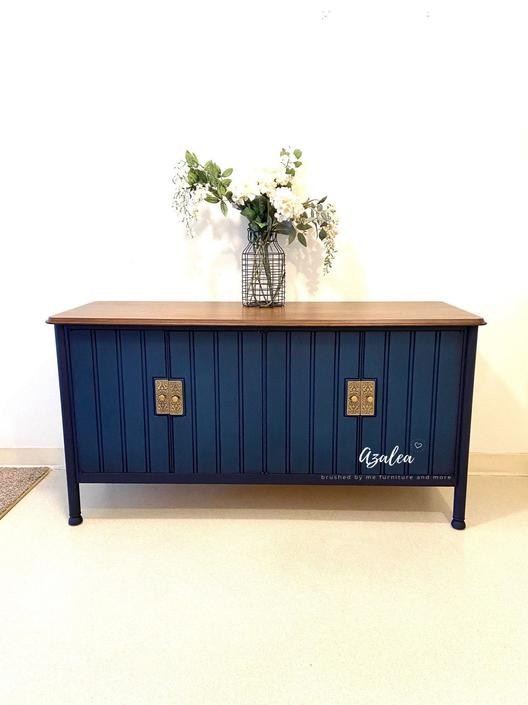 BEAUTIFUL refinished navy blue dresser / tv stand or nursery on legs By Heritage by RelovedFurnitureStor
