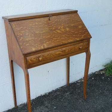 Early 1900s Tiger Oak Secretary Desk by Novelty Wood Work Co 2254