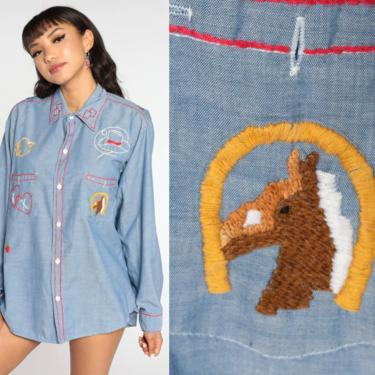 Embroidered Western Shirt 70s Cowboy Horse Shirt Strawberry Shirt Button Up Top 1970s Vintage Long Sleeve Blouse Chambray Extra Large xl by ShopExile
