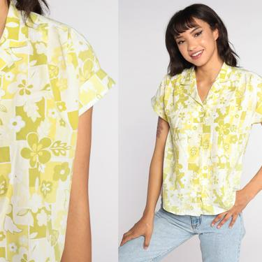 80s Floral Blouse Green Yellow Button Up Shirt Cuffed Short Sleeve Top Boho 1980s Vintage 70s Bohemian Medium by ShopExile