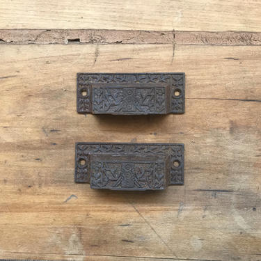 Pair of 1890s Cast Iron Victorian Eastlake Ornate Drawer Pulls by NorthGroveAntiques