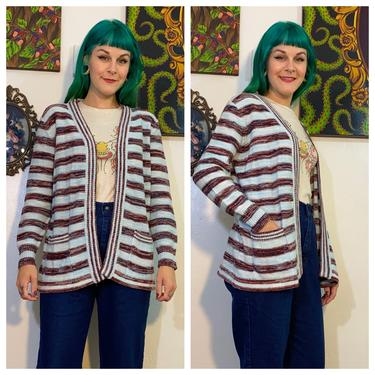 Vintage 1970's Blue Striped Space Dyed Cardigan by SurrealistVintage