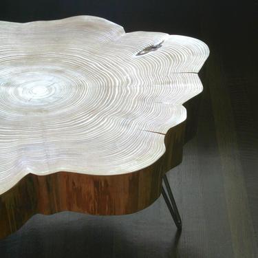 live edge coffee table - with mid century modern hairpin legs - nimbus cloud table - urban wood salvage - modern interior by birdloft