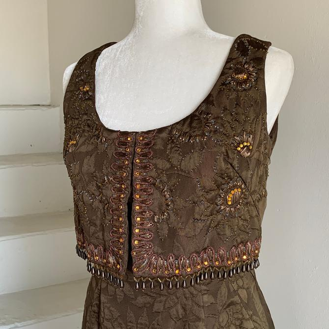 1960s Heavily Embellished Chocolate Cocktail MCM Sheath 36 Bust Vintage by AmalgamatedShop