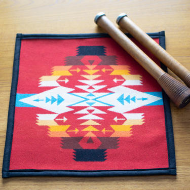 Pair - PLACEMATS with PENDLETON Wool - Square - Rare Tuscan Red design - Dinner Place Mats by CovetModernDesign
