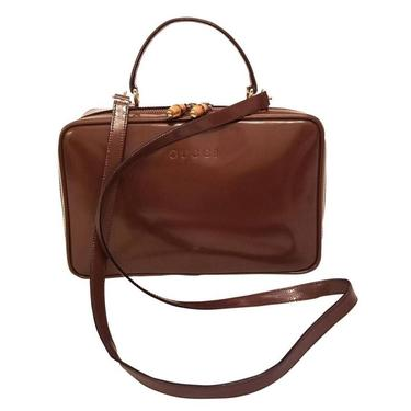 Gucci 2 Way Lunch Tote w Bamboo Details Train Case Vanity Bag Brown by TradingTraveler