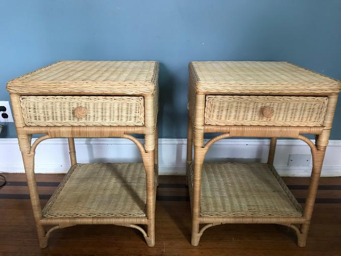 Vintage Pair wicker bedside table night stands by RavenPearVintage