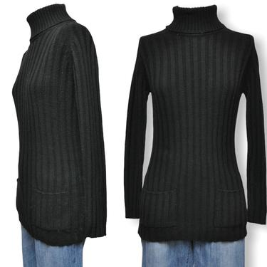 70's Black Ribbed Knit Turtleneck Sweater with Front Pockets by TheUnapologeticSoul