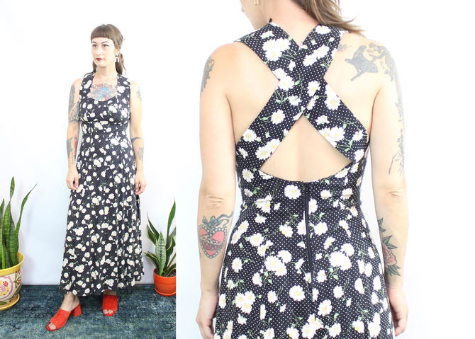 Vintage 90's Daisy Midi Dress / 1990's Criss Cross Open Back Midi Dress / Daisies / Women's Size Small by RubyThreadsVintage