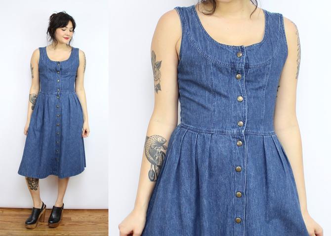 34fcb5dbc0b Vintage 90  39 s Denim Blue Jumper Dress   1990  39 s Fit and Flare ...