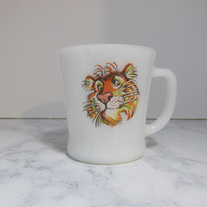 Vintage Fire King ESSO Tiger Mug, Anchor Hocking Made in USA - white milk glass coffee mug with multicolored orange tiger face by theHeirloomYard