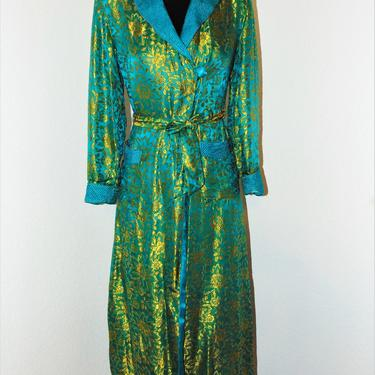 Vintage 1960s Gold & Teal Floral Print Design Silk Robe in sz S by AllMyItems