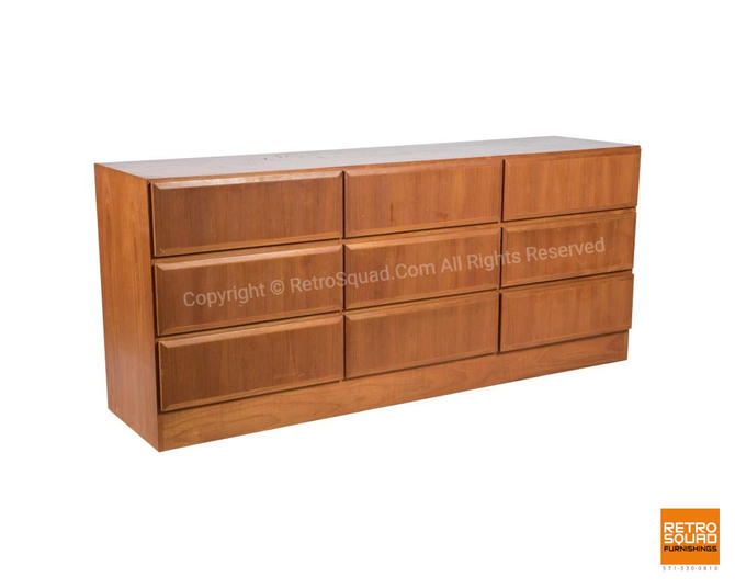 Danis Modern Teak 9 Drawer Dresser By Arne Wahl Iversen For Vinde of Denmark / Bedroom Mid Century, MCM Credenza by RetroSquad