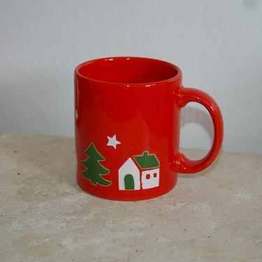 Beautiful Waechtersbach West Germany Red Christmas Mug w Snowy Houses, Trees and Reindeer ~ Christmas Eve ~ Christmas Coffee ~ X-mas Holiday by YesterdayAndTomorrow