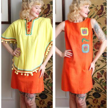 1960s Dress // Maya De Mexico 2pc Dress & Cape Set // vintage 60s resort wear by dethrosevintage